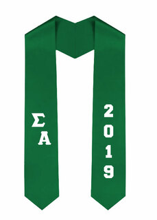 Sigma Alpha Greek Diagonal Lettered Graduation Sash Stole With Year