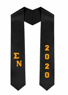 Sigma Nu Greek Diagonal Lettered Graduation Sash Stole With Year