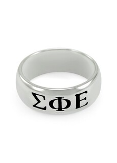 Sigma Phi Epsilon Sterling Silver Wide Band Ring
