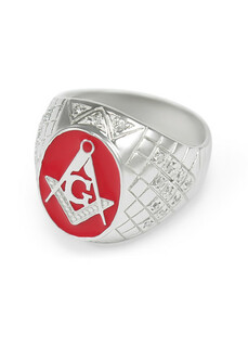 Sterling Silver Mason / Freemason Ring With Coral Red Enamel And Czs