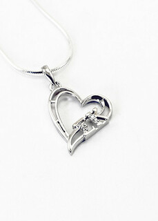 Sterling Silver Sorority heart pendant set with lab created diamonds