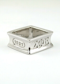 Sterling silver square ring with founding year