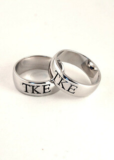 Sterling silver wide-band ring with black enameled Greek letters