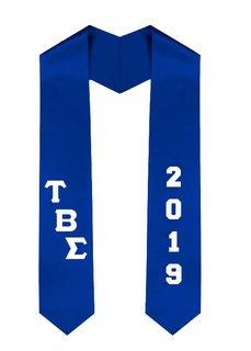 Tau Beta Sigma Greek Diagonal Lettered Graduation Sash Stole With Year