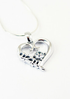 Theta Nu Xi Sterling Silver Heart Pendant with Swarovski� Clear Crystal