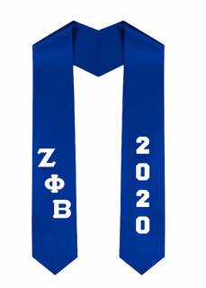 Zeta Phi Beta Greek Diagonal Lettered Graduation Sash Stole With Year