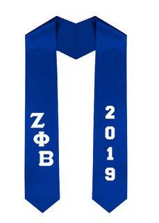 Zeta Phi Beta Greek Diagonal Lettered Graduation Sash Stole With Year