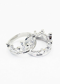 Zeta Tau Alpha Sterling Silver Crown Ring, set with CZs