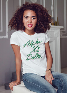 Alpha Xi Delta Christmas Lights Boyfriend Tee