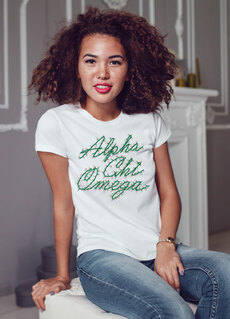 Alpha Chi Omega Christmas Lights Boyfriend Tee
