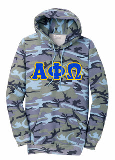 DISCOUNT-Alpha Phi Omega Camo Pullover Hooded Sweatshirt