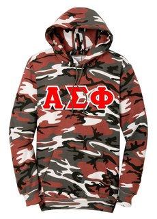 DISCOUNT-Alpha Sigma Phi Camo Pullover Hooded Sweatshirt