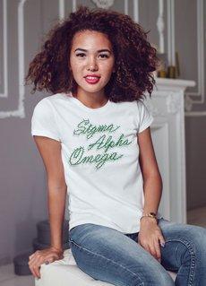 Sigma Alpha Omega Christmas Lights Boyfriend Tee