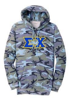 DISCOUNT-Sigma Chi Camo Pullover Hooded Sweatshirt