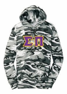 DISCOUNT-Sigma Pi Camo Pullover Hooded Sweatshirt