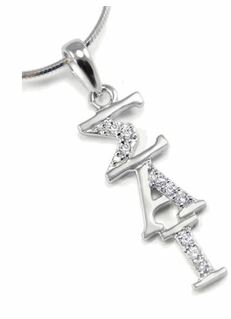 Sigma Alpha Iota Vertical Lavaliere with lab created diamonds