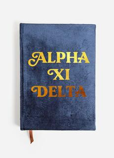 Alpha Xi Delta Velvet Notebook