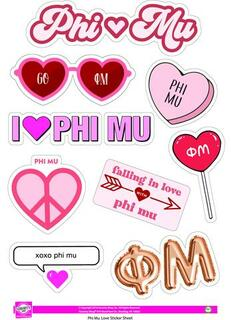 Phi Mu Love Theme Stickers