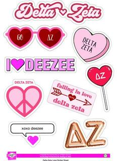 Delta Zeta Love Theme Stickers