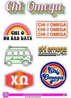 Chi Omega Retro Sticker Sheet