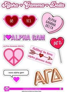Alpha Gamma Delta Love Theme Stickers