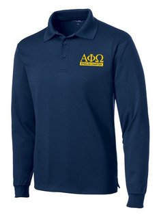 Alpha Phi Omega- $30 World Famous Long Sleeve Dry Fit Polo