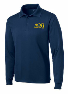 Alpha Phi Omega- $35 World Famous Long Sleeve Dry Fit Polo