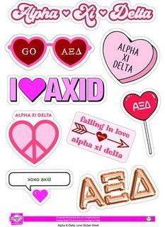 Alpha Xi Delta Love Theme Stickers