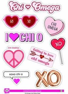 Chi Omega Love Theme Stickers
