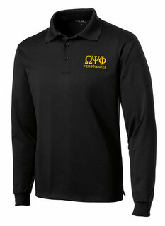 Omega Psi Phi- $35 World Famous Long Sleeve Dry Fit Polo