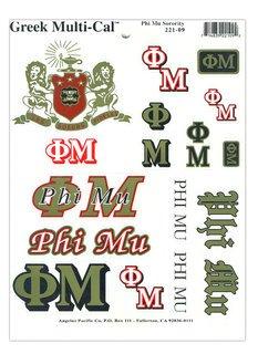 Phi Mu Multi Greek Decal Sheet