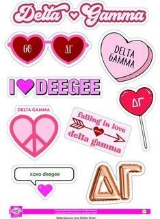 Delta Gamma Love Theme Stickers