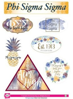 Phi Sigma Sigma Water Color Stickers