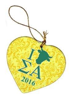 Sigma Alpha Porcelain Heart Christmas Ornament