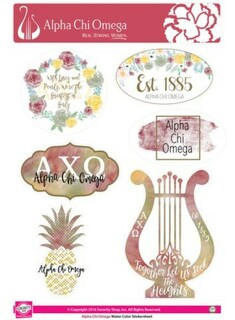 Alpha Chi Omega Water Color Stickers