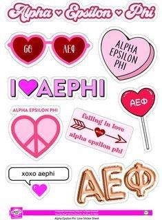 Alpha Epsilon Phi Love Theme Stickers