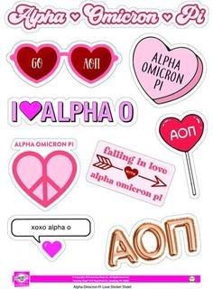 Alpha Omicron Pi Love Theme Stickers