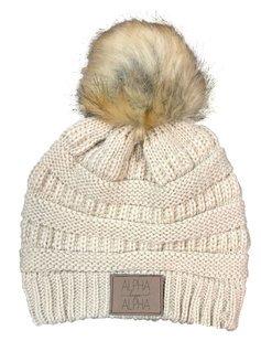 Alpha Kappa Alpha CC Beanie with Faux Fur Pom