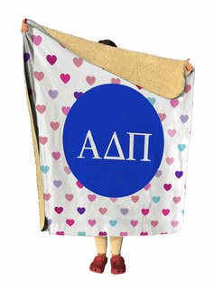 Alpha Delta Pi hearts Sherpa Lap Blanket