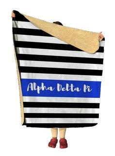 Alpha Delta Pi Stripes Sherpa Lap Blanket