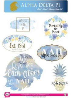 Alpha Delta Pi Water Color Stickers