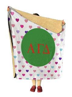 Alpha Gamma Delta hearts Sherpa Lap Blanket