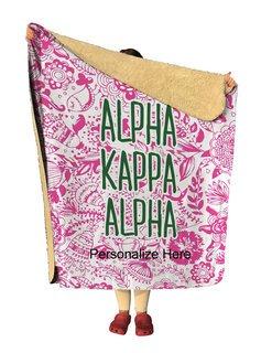 Alpha Kappa Alpha Floral Sherpa Lap Blanket