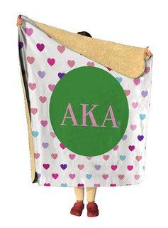 Alpha Kappa Alpha hearts Sherpa Lap Blanket