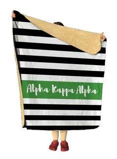 Alpha Kappa Alpha Stripes Sherpa Lap Blanket