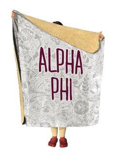 Alpha Phi Floral Sherpa Lap Blanket