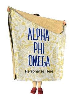 Alpha Phi Omega Floral Sherpa Lap Blanket