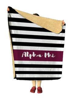 Alpha Phi Stripes Sherpa Lap Blanket