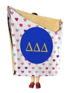 Delta Delta Delta hearts Sherpa Lap Blanket