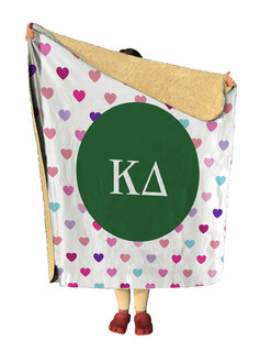 Kappa Delta hearts Sherpa Lap Blanket
